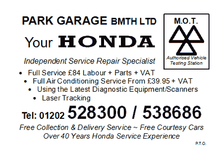 Park Garage Bournemouth Honda MOT Card - Side 1