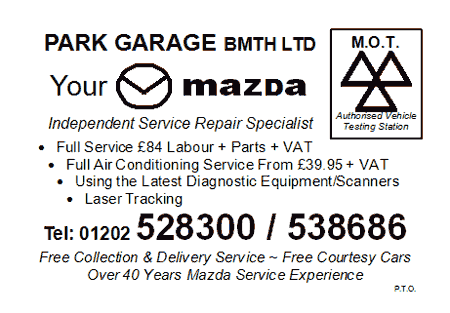 Park Garage Bournemouth Mazda MOT Card - Side 1