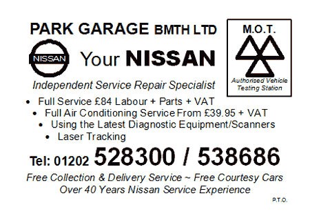 Park Garage Bournemouth Nissan MOT Card - Side 1
