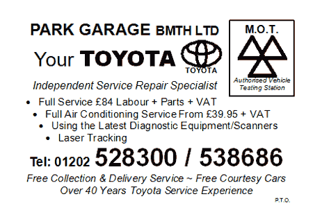 Park Garage Bournemouth Toyota MOT Card - Side 1