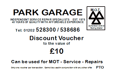 Park Garage Bournemouth Discount Card - Side 1